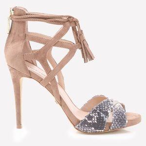 Brand new Bebe Lea ankle tie suede heel sandals